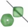 Glass Bead Cubes 8mm Peridot Matt With Diagonal Hole Strung
